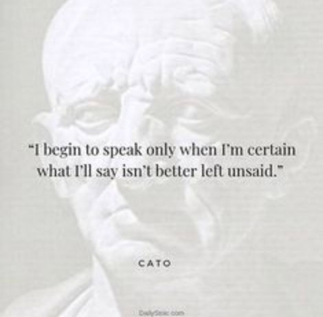 I begin to speak only when I'm certain what I'll say isn't better left unsaid. - Cato